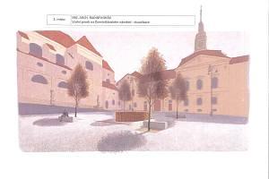 Vítězný návrh architektonické soutěže na vodní prvky na Dominikánském náměstí. Vizualizace vodního prvku uprostřed náměstí.