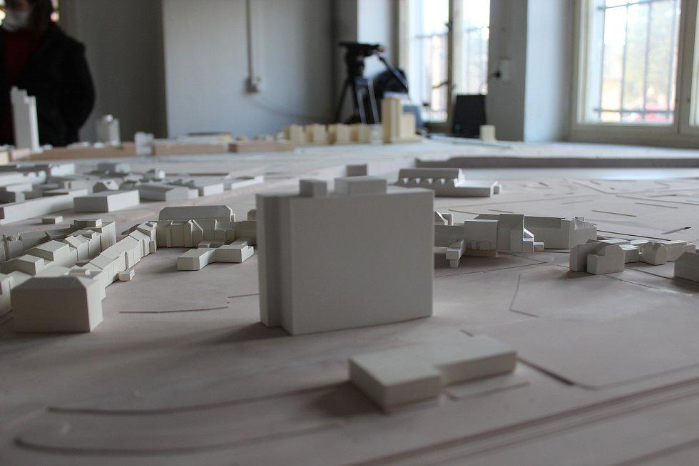 Připravovaný model nové čtvrti Trnitá, který poslouží při mezinárodní soutěži na nové hlavní nádraží.