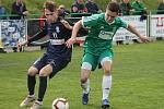 V utkání 22. kola fotbalové divize D prohrála Dosta Bystrc-Kníničky (zelené dresy) s FK Blansko 0:7.