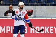 Zápas Ligy mistrů mezi Kometou Brno (Martin Zaťovič) a EV Zug ze Švýcarska.