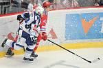 Utkání 40. kola hokejové extraligy: HC Oceláři Třinec vs. HC Kometa Brno, 14. ledna 2018 v Třinci. (zleva) Němec Vojtěch a Kovář Lukáš.