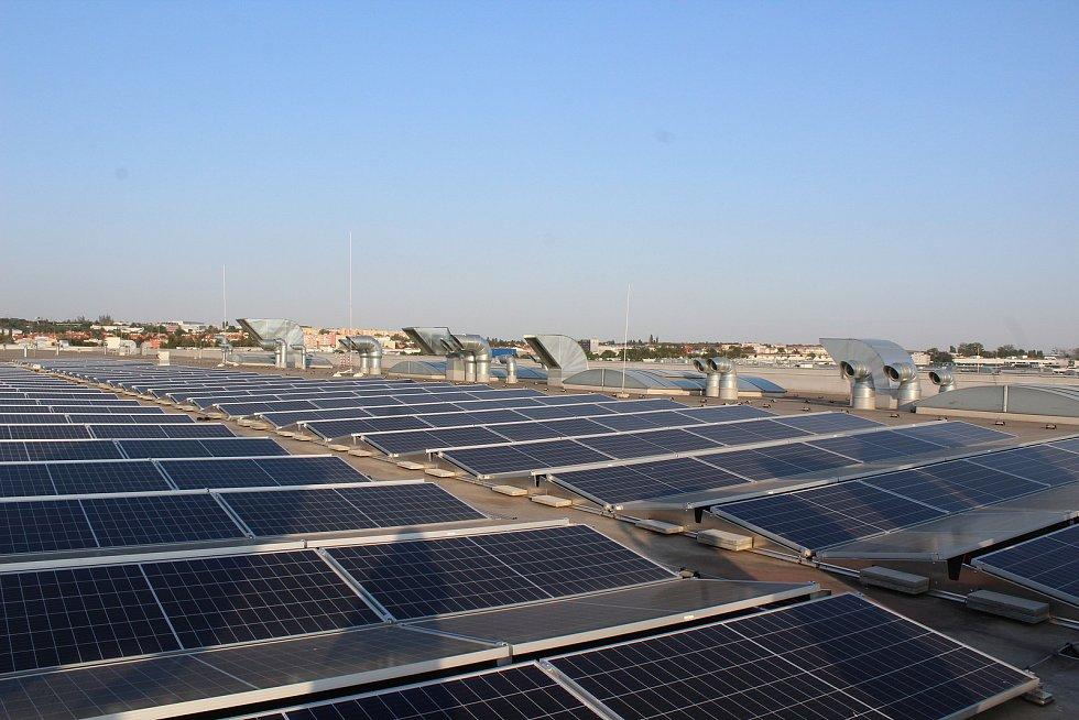 Zástupci firmy Thermo Fischer Scientific a náměstek primátorky Petr Hladík slavnostně otevřeli solární elektrárnu.