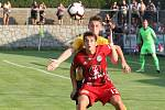 Rosice 27.08.2019 - 2. kolo MOL CUPU mezi domácím Slovanem Rosice (Jan Nedvěd) ve žlutém a Sigmou Olomouc (Mojmír Chytil)