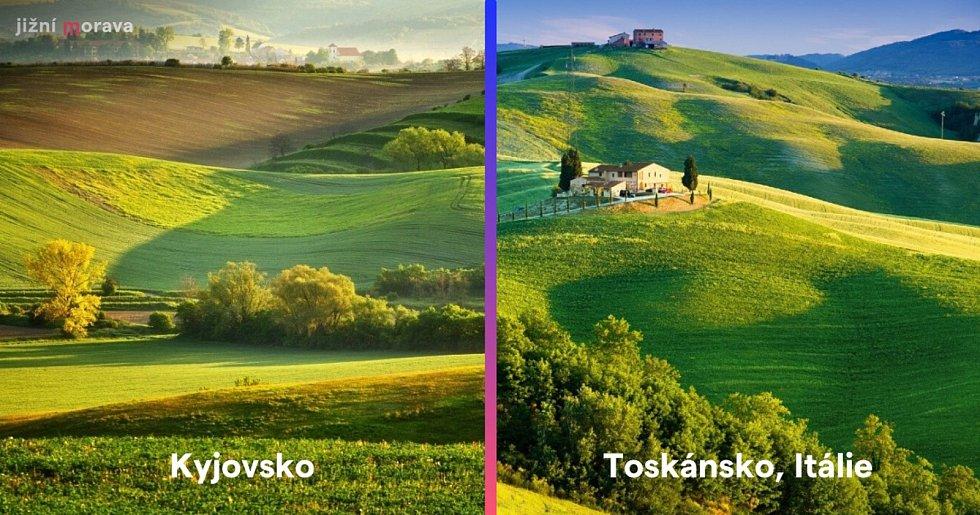 Zvlněné krajiny na Kyjovsku a v italském Toskánsku.