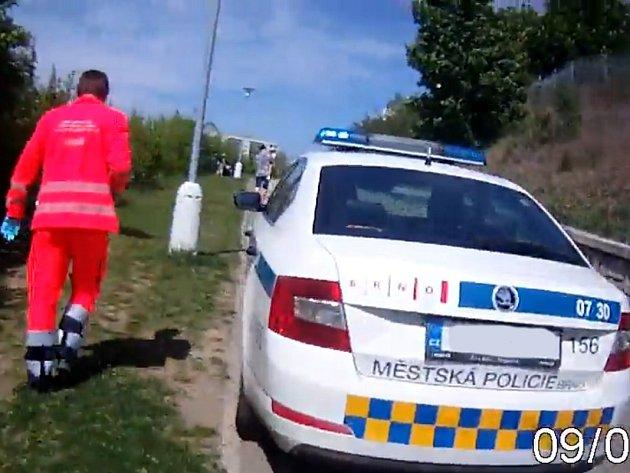 Hlídka strážníků vyrazila vsobotu ktragické události do brněnského Nového Lískovce, kde pitbul zakousl jorkšíra.