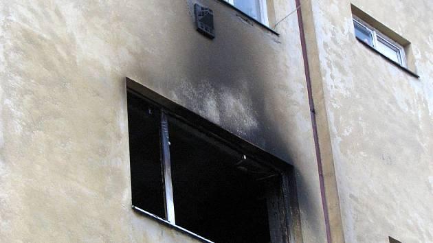 Požár bytu v Táborské ulici v Brně.