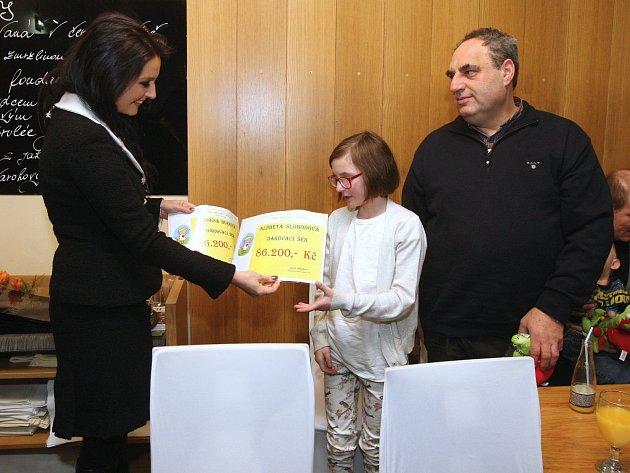 Modelka Jitka Válková v úterý předala dětem výtěžek z aukce umění na Plese jako Brno. Organizátoři plesu letos vybrali pět dětí s různými diagnózami, které si mezi sebe rozdělily 430 tisíc korun.