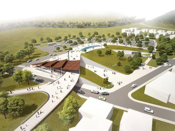 Vizualizace parkoviště ubrněnské zoo.