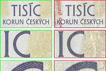 Tři různě velké detaily tiskového obrazce pravé bankovky a padělku.