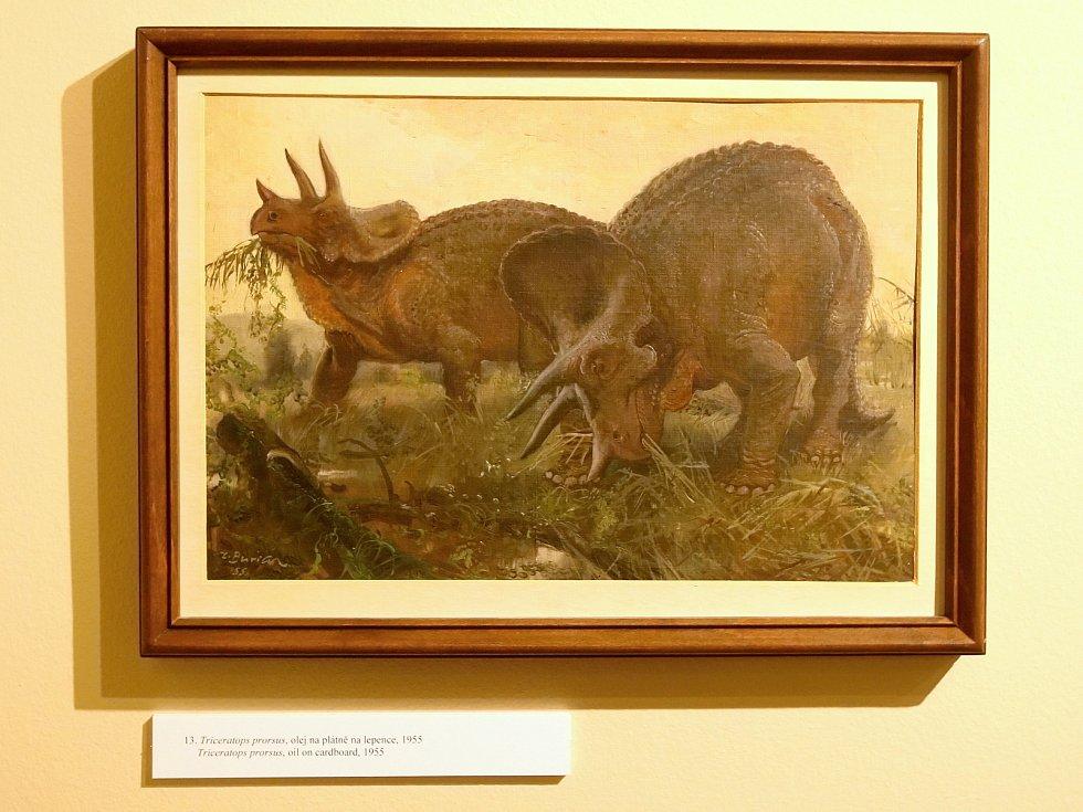 Výstava děl Zdeňka Buriana o pravěku v brněnském pavilonu Anthropos.
