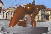 Druhý nejlepší návrh architektonické soutěže na vodní prvky na Dominikánském náměstí. Model vodního prvku uprostřed náměstí.