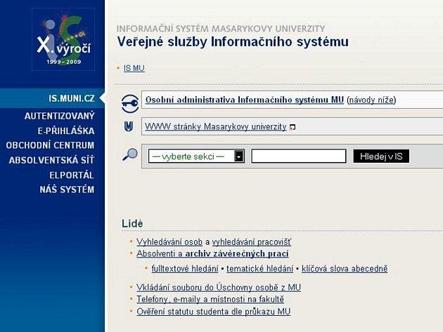 Detail webového portálu is.muni.cz.