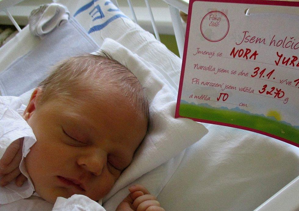 Nora Jurenová, 31. 1. 2021, Dubňany, Nemocnice Břeclav, 3270 g, 50 cm