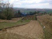 Požár trávy v Blučině na Brněnsku na ploše přibližně pěti fotbalových hřišť. Oheň poškodil ovocné stromy.