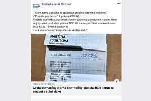 Příspěvek na facebookové stránce Brněnského deníku Rovnost o pokutované astmatičce.