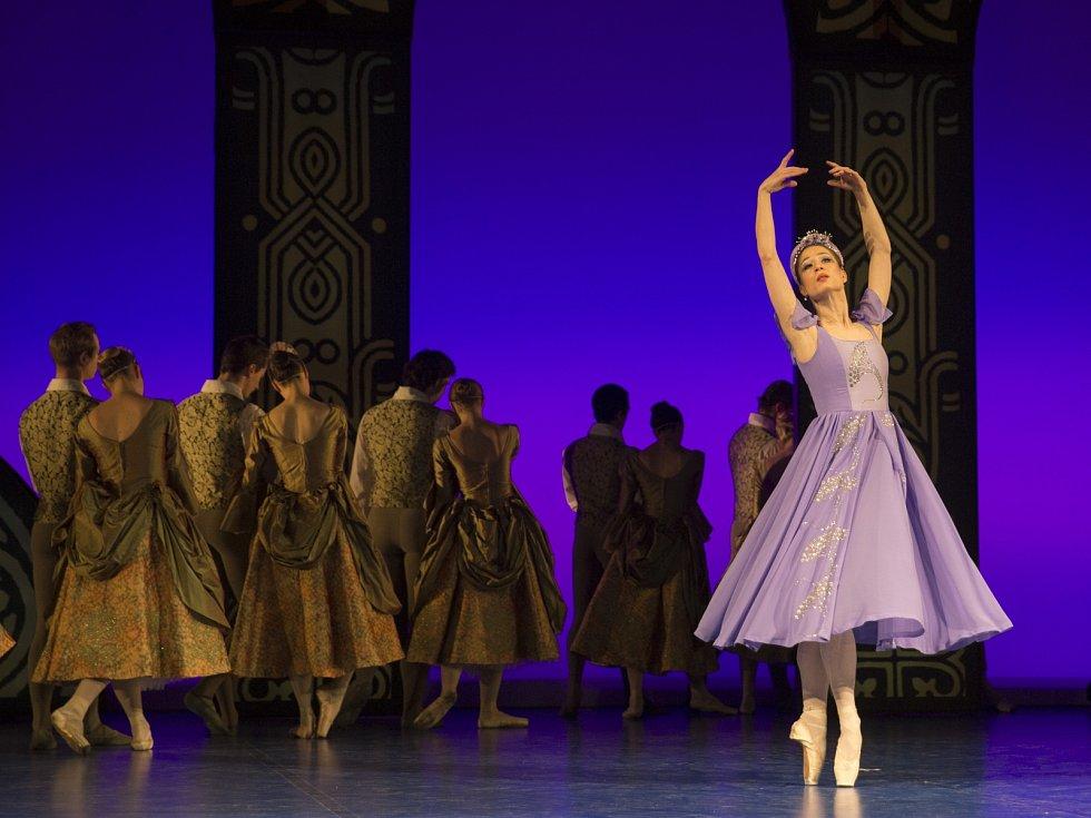 Andrea Popov Smejkalová, v pozadí sbor Baletu NdB.