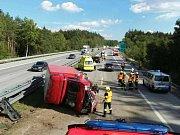 Srážka náklaďáku s dodávkou na dálnici D1.