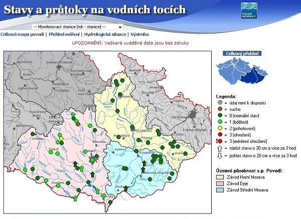 Stav moravských řek kolem úterní desáté hodiny dopolední.