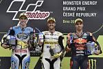 Monster Energy Grand Prix České republiky 2017, stupně vítězů Moto 2, zleva Alex Márquez, Thomas Lüthi a Miguel Oliveira.