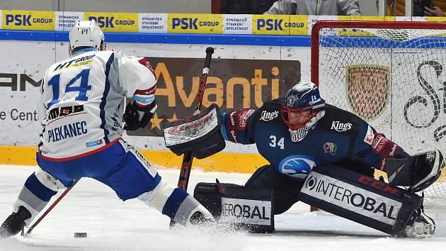 Domácí HC Kometa Brno (v bílém) proti HC Plzeň.