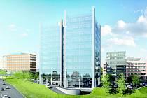 Vizualizace nové budovy v Brno Business Parku u brněnského Ústředního hřbitova.