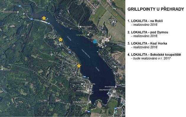 Mapa grillpointů upřehrady.