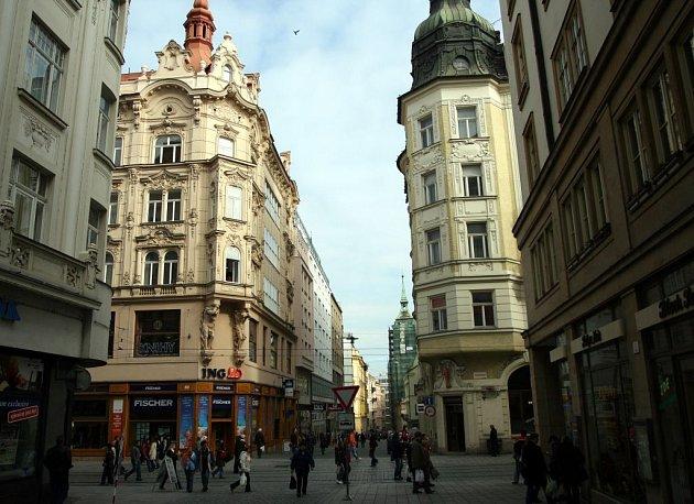 Roh náměstí Svobody a Jánské ulice v Brně, kde stával hotel Europa