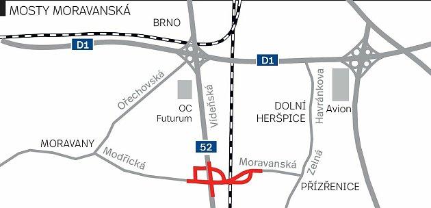 Připravovaná stavba Mosty Moravanská.