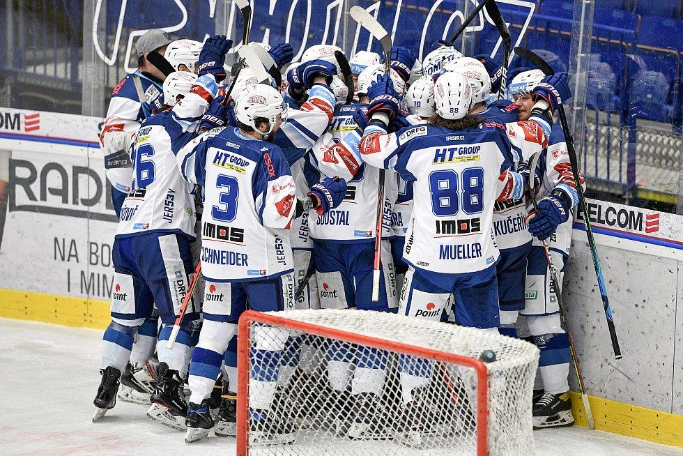 Utkání předkola play off hokejové extraligy - 5. zápas: HC Vítkovice Ridera - HC Kometa Brno, 16. března 2021 v Ostravě. Brno oslavuje postup do play off.
