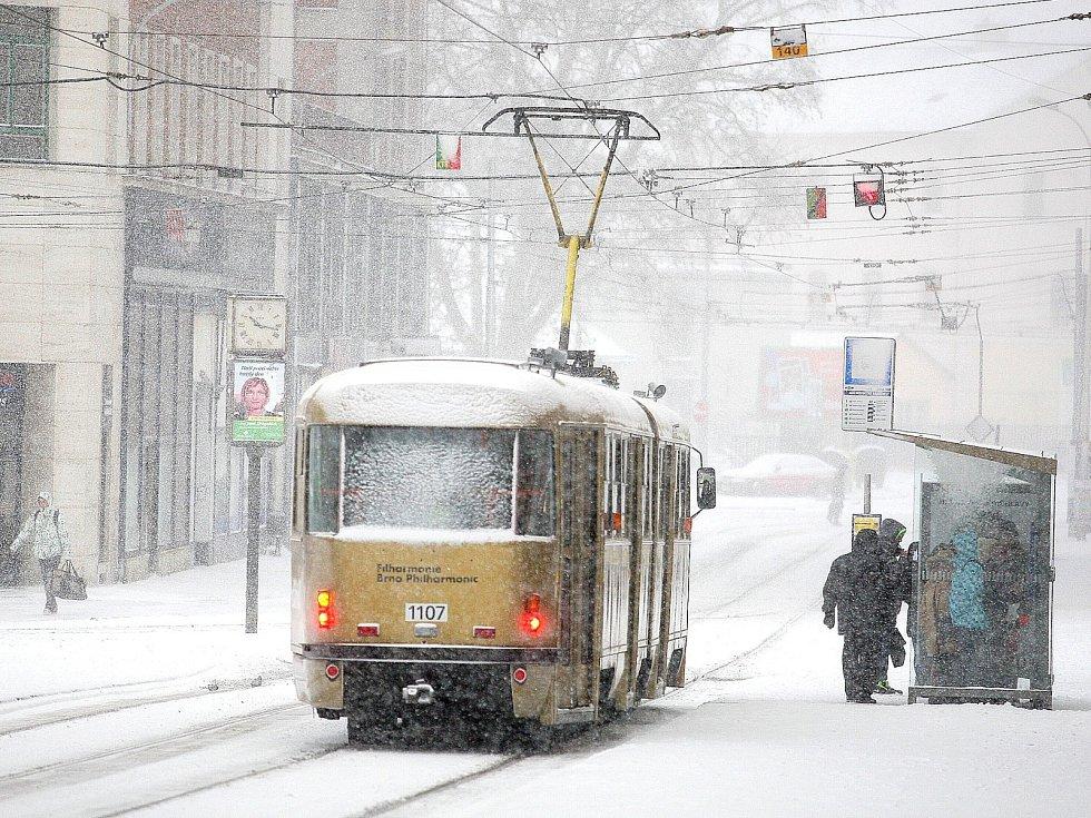 Sníh v Brně.