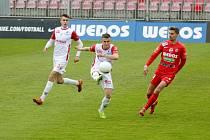 Fotbalový zápas brněnské Zbrojovky a Pardubic