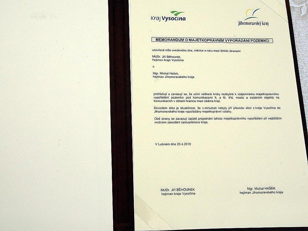 Memorandum o majetkoprávním vypořádání pozemků.