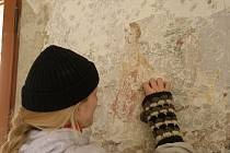 V místnosti 211 na hradě Veveří restaurátoři pracují na obnově celoplošné malby.