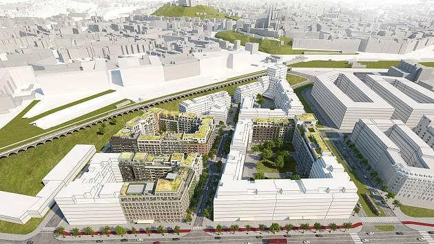 Připravovaná výstavba v lokalitě Opuštěná-Trnitá v budoucím Jižním centru v Brně.