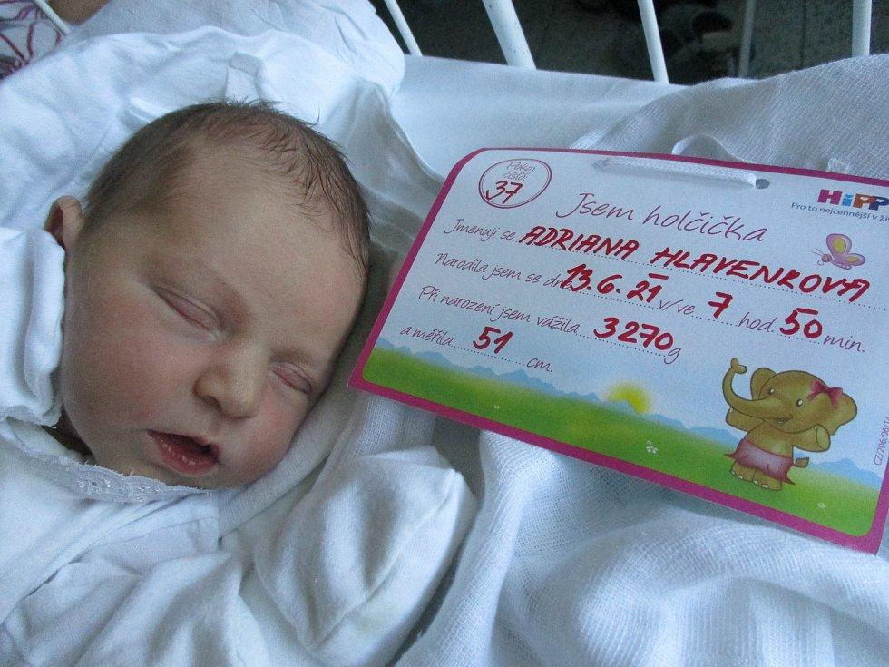 Adriana Hlavenková, 13. června 2021, Břeclav, Nemocnice Břeclav, 3270 g, 51 cm