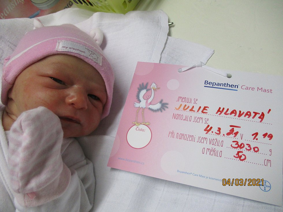Julie Hlavatá, 4. 3. 2021, Břeclav, Nemocnice Břeclav, 3030 g, 50 cm