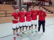 Brněnská klika v reprezentaci malého fotbalu. Zleva Tomáš Pospiš, Tadeáš Zezula, David Presl, Stanislav Lerch, Dominik Kunický.