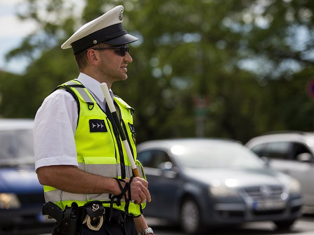 Krajské kolo soutěže dopravních policistů na křižovatce Vídeňská x Poříčí.