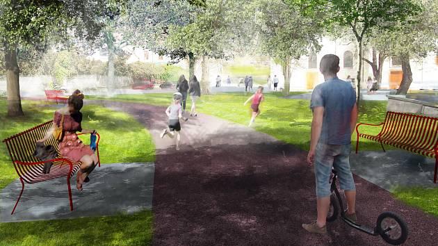 Vizualizace budoucí podoby parku na Palackého náměstí v brněnských Řečkovicích.