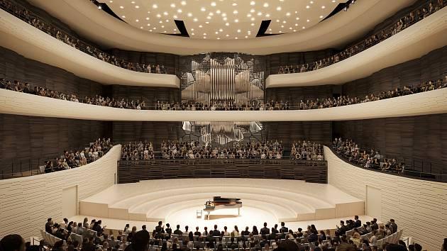 Koncertní sál uvnitř Janáčkova kulturního centra.