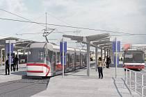 Budoucí podoba konečné zastávky na tramvajové trati u univerzitního kampusu.