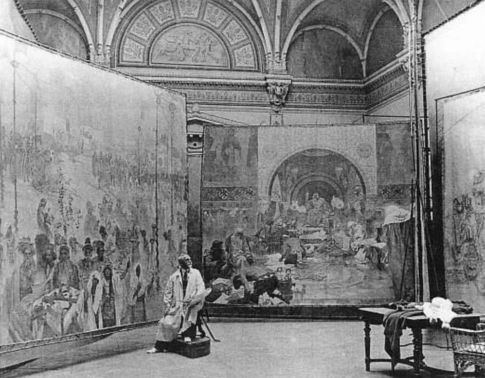 Alfons Mucha věnoval Slovanské epopeji 18 let života.