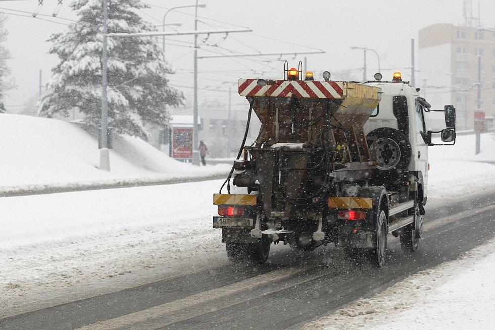 Leden 2019 - sníh v brněnských ulicích.