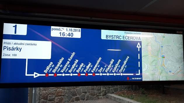 Nové informační panely testuje brněnský dopravní podnik zatím ve třech tramvajích.