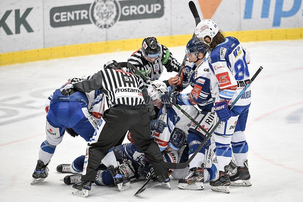 Utkání předkola play off hokejové extraligy - 5. zápas: HC Vítkovice Ridera - HC Kometa Brno, 16. března 2021 v Ostravě. šarvátka