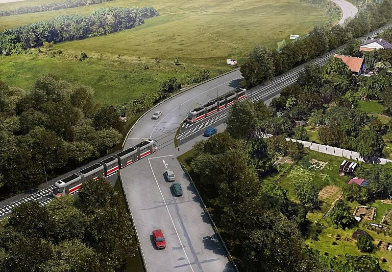 Plánované křížení tramvajové trati na Stránskou skálu s Drčkovou ulicí.