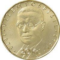 Jedna ze tří nových dvacetikorun vydaných ke stému výročí měnové odluky od Rakousko-Uherska. prvního guvernéra Národní banky Československé Viléma Pospíšila.