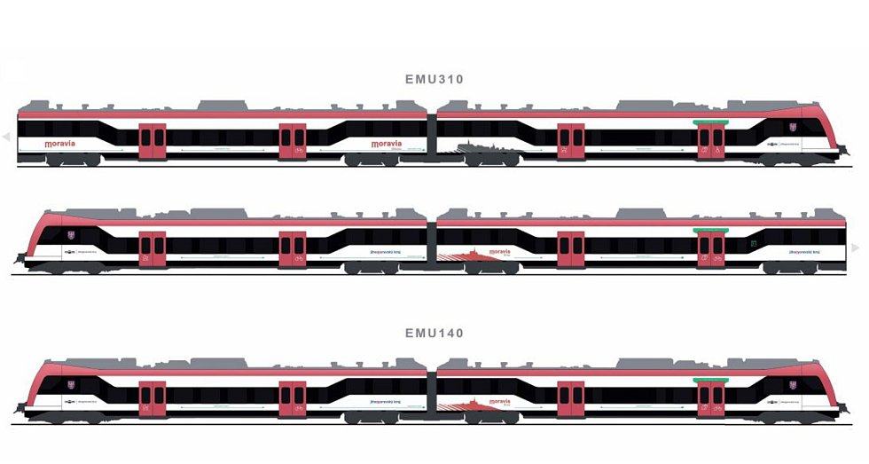 Návrhy barevného vzhledu nových vlaků Moravia pro Jihomoravský kraj.