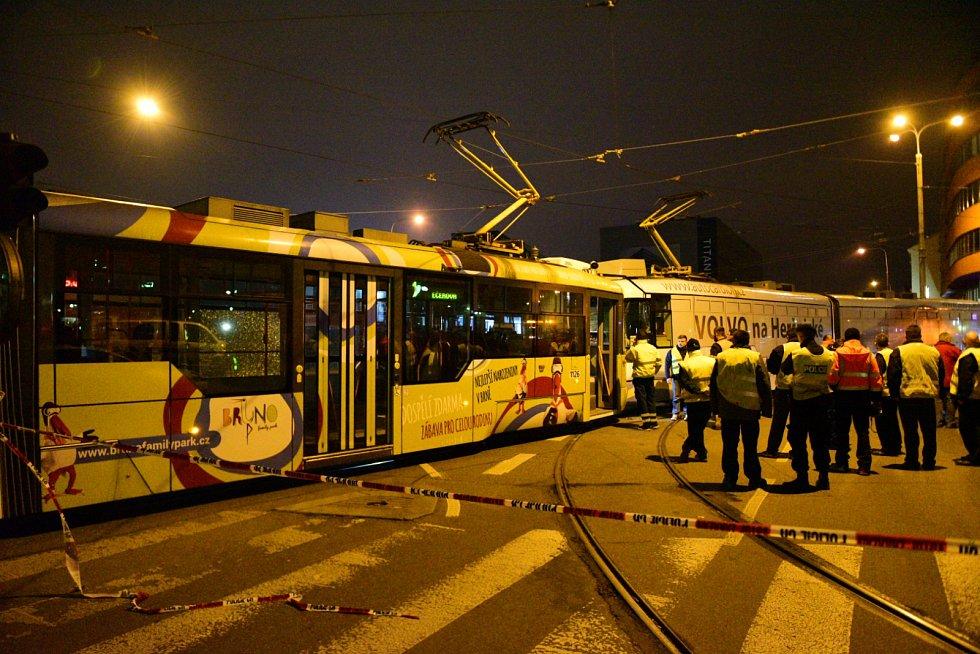 Srážka dvou tramvají na Nových sadech v roce 2017.
