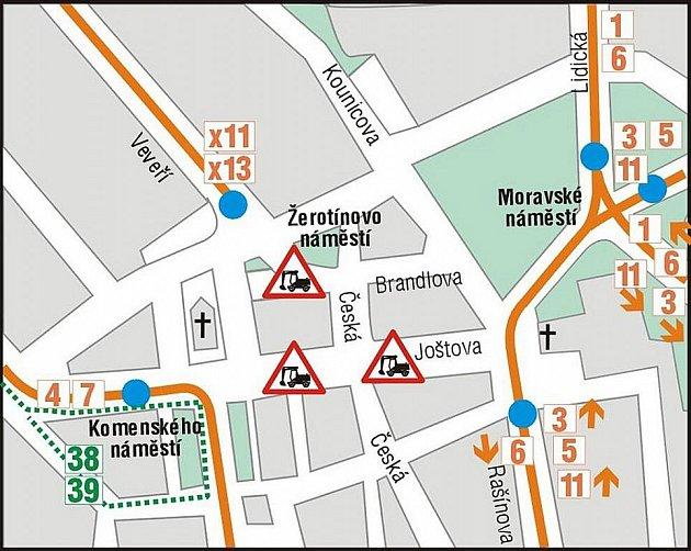 Výluka Joštova ulice: 1.etapa 7.6.-30.6. 2010.